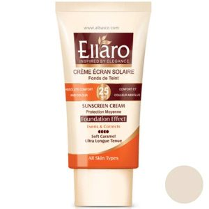 ضد آفتاب کرم پودری الارو مناسب انواع پوست بژ روشن ELLARO SPF 25