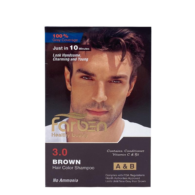 شامپو رنگ مو مردانه فاربن قهوه ای 3.0 حجم 300میل Farben