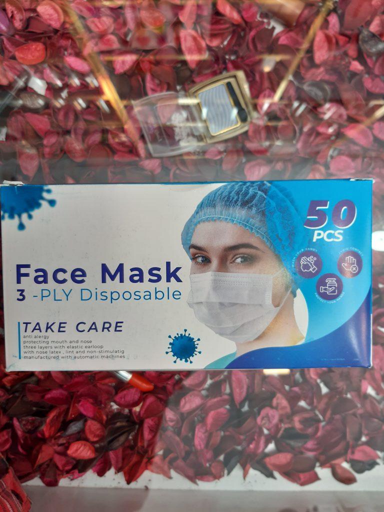 ماسک 3لایه پرستاری کش دار 50عددی پرسی face mask