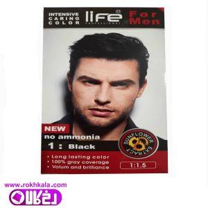 کیت رنگ مو مردانه لایف مشکی شماره 1 حجم 60میل (بدون آمونیاک) Life