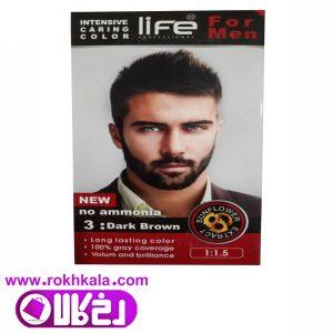 کیت رنگ مو مردانه لایف قهوه ای تیره شماره 3 حجم 60میل (بدون آمونیاک) Life